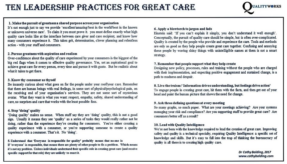 Ten Leadership Practices for Great Care
