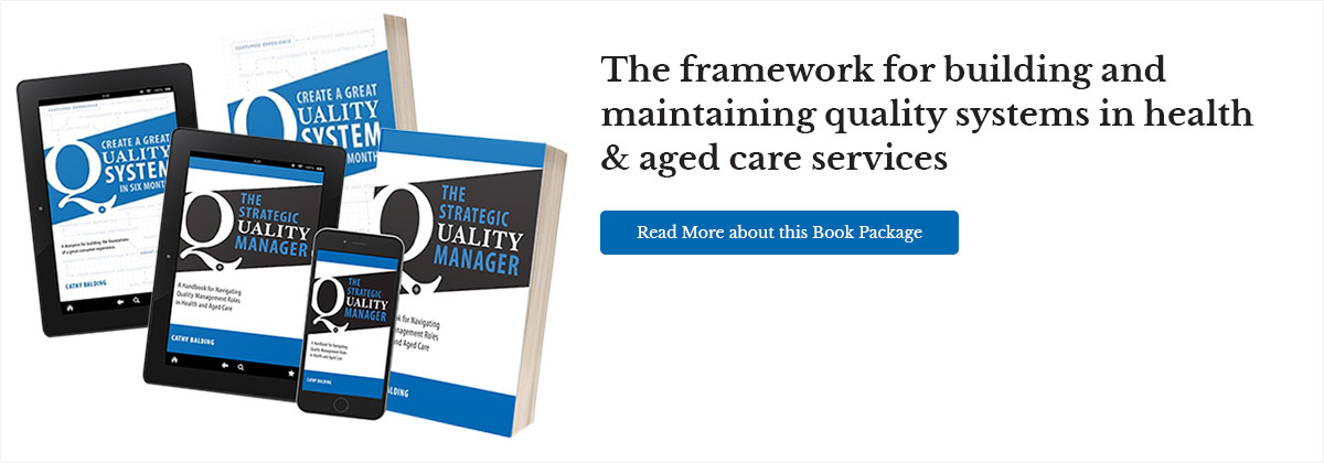 The framework for building and maintaining quality systems in health & aged care services. Read more about this book package